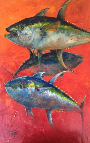 Three Yellowfin Tuna on Red