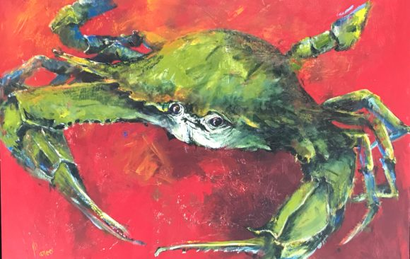 Green Crab on Red